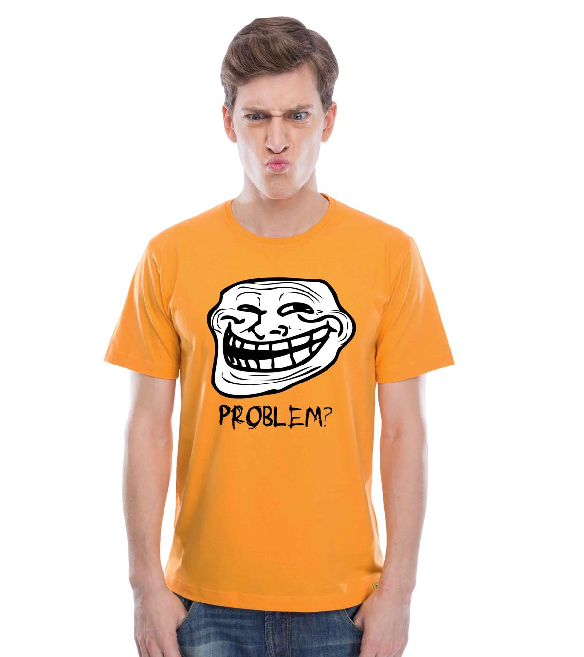 Troll Face (Golden Yellow) Guys Tee