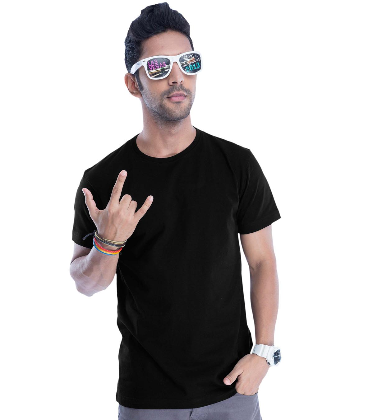 Jet Black Plain Guys Tee