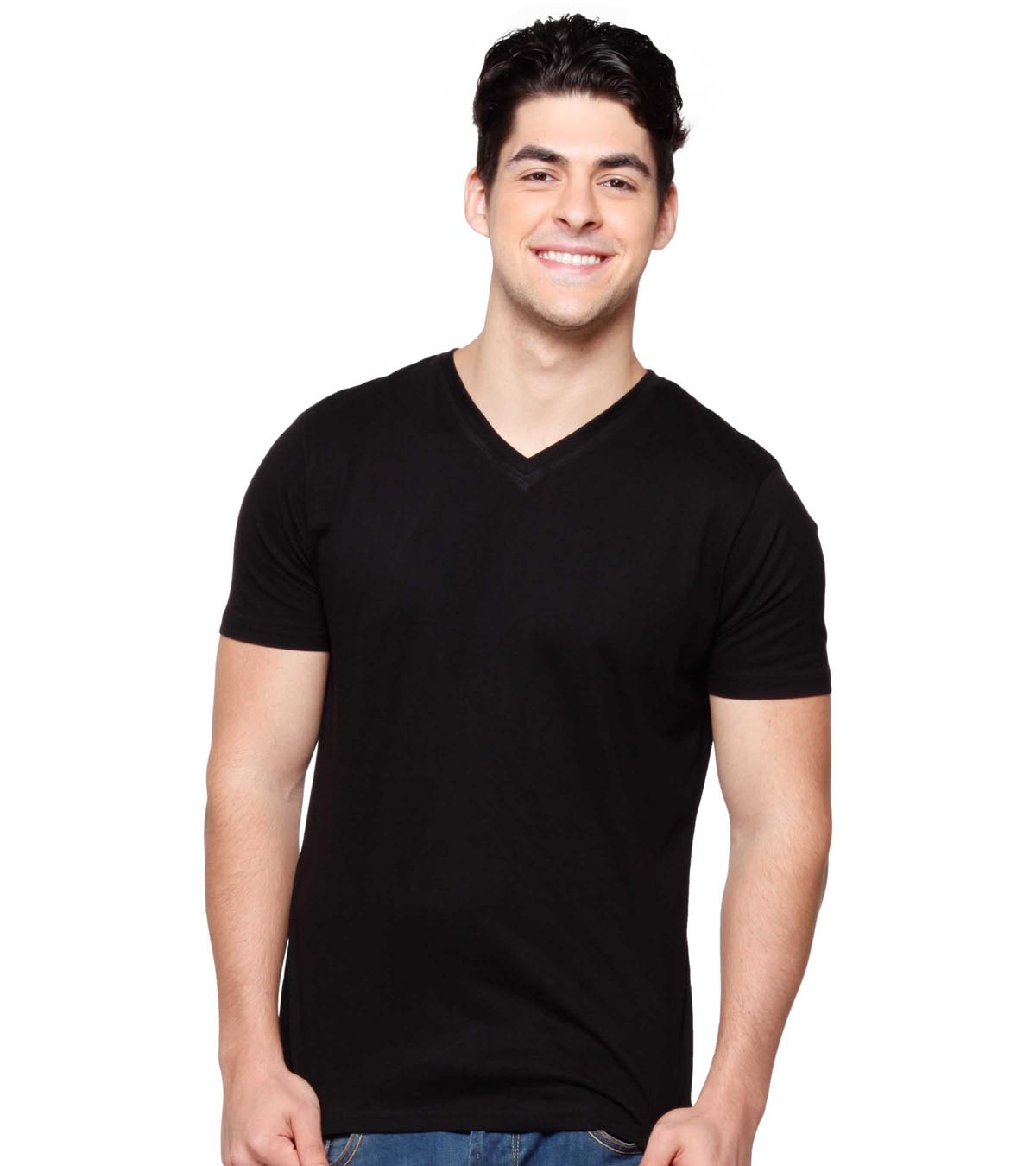 Buy Black Plain V Neck T shirt for Men Online @ Bewakoof.com