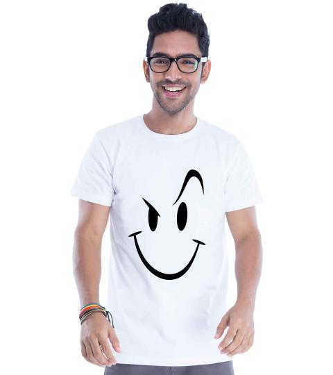 Naughty Smiley (White) Mens T-Shirts