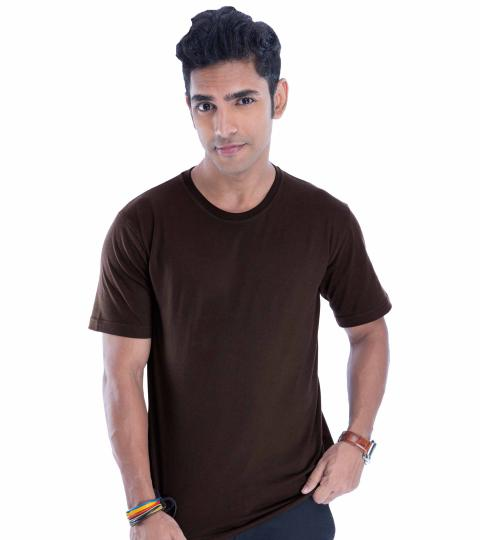 Carob Brown Plain Mens T-Shirts