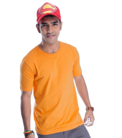Golden Glow Yellow Plain Mens T-Shirts