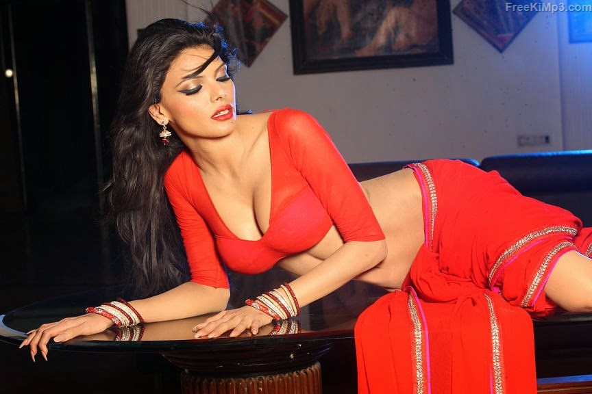 Sherlyn-Chopra-Look-Beautiful-Hot-sexy-in-Red-Saree